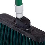 "Carlisle 4108209 12"" Angle Broom - 48"" Fiberglass Handle, Flagged Bristles, Green"