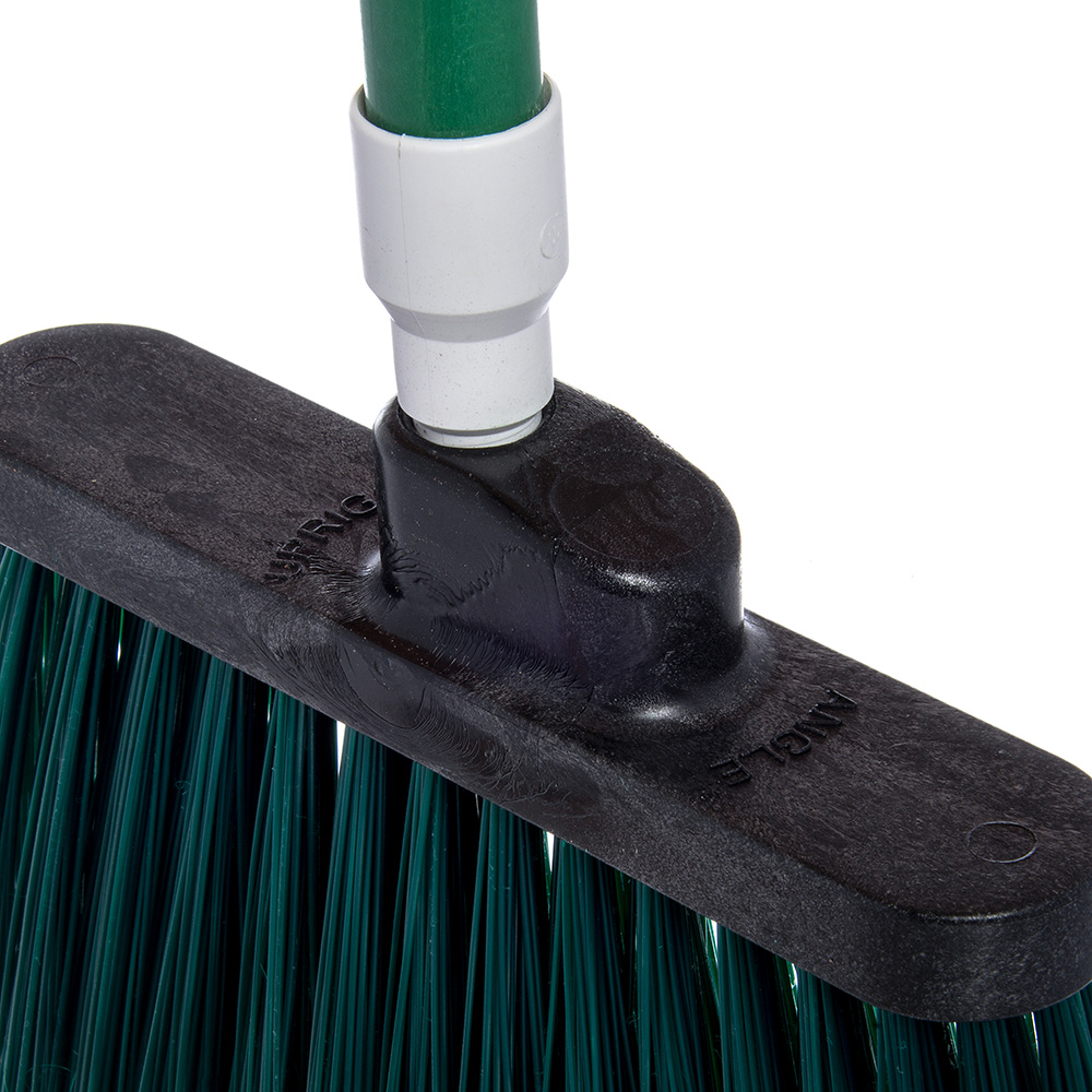 "Carlisle 4108209 12"" Angle Broom - 48"" Fiberglass Handle, Flagged Bristles, Green"
