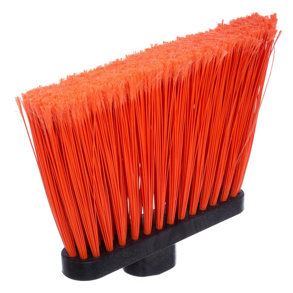 """Carlisle 4108224 12"""" Angle Broom - 48"""" Fiberglass Handle, Flagged Bristles, Orange"""