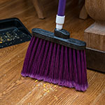 "Carlisle 4108268 12"" Angle Broom - 48"" Fiberglass Handle, Flagged Bristles, Purple"