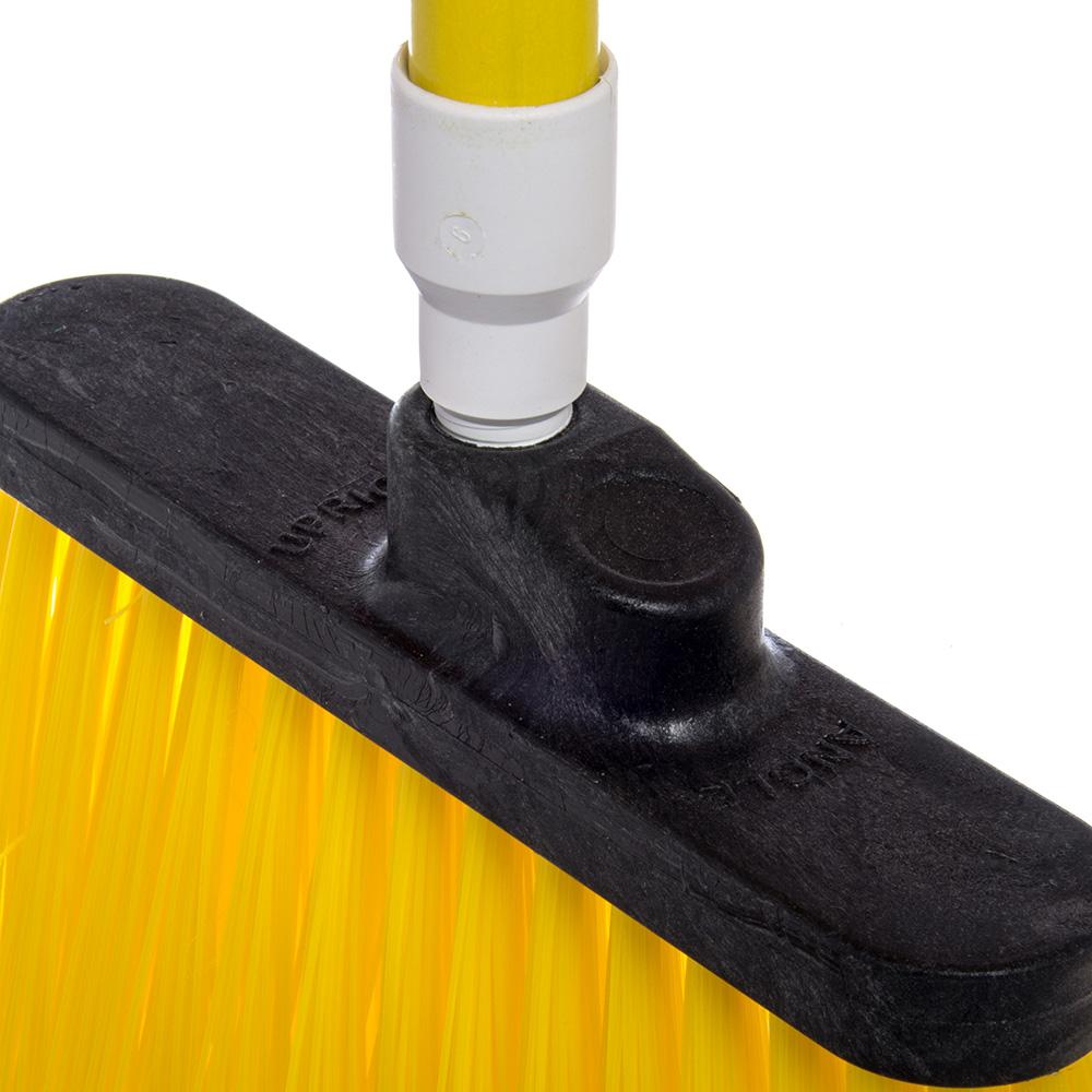 """Carlisle 4108304 12"""" Angle Broom - 48"""" Handle, Unflagged Bristles, Yellow"""