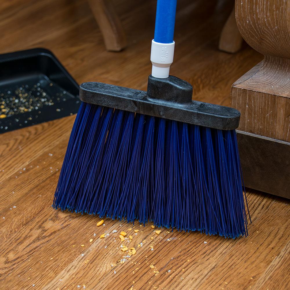 """Carlisle 4108314 12"""" Angle Broom - 48"""" Handle, Unflagged Bristles, Blue"""