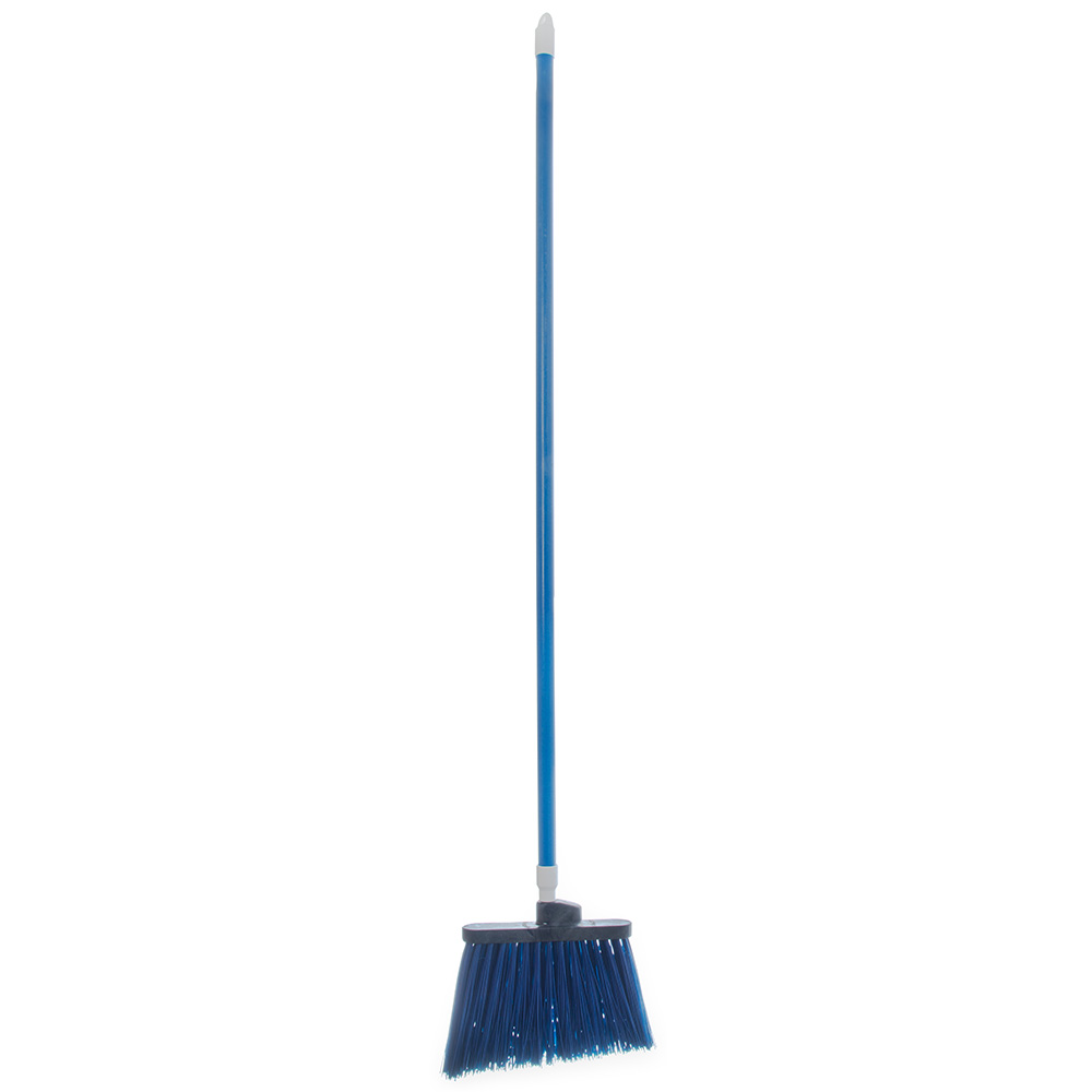 "Carlisle 4108314 12"" Angle Broom - 48"" Handle, Unflagged Bristles, Blue"