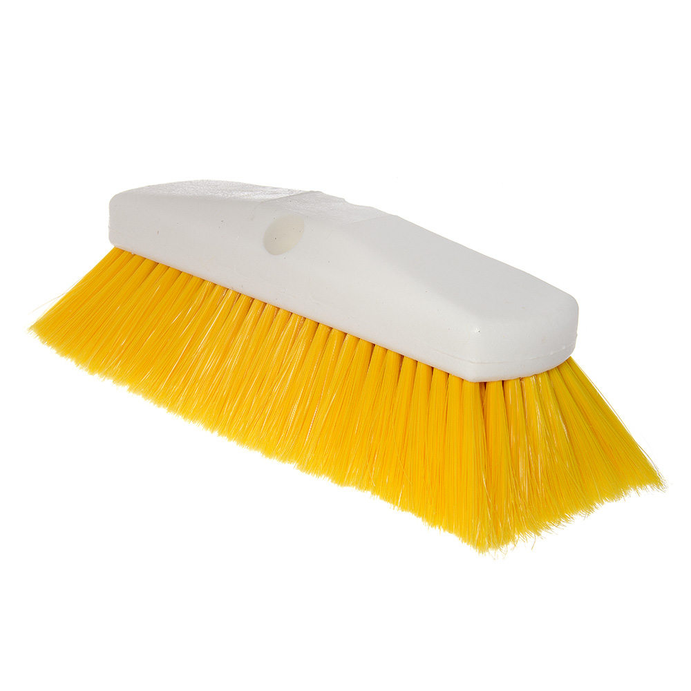 "Carlisle 4127804 10"" Flo-Thru Brush - Plastic/Nylex, Yellow"