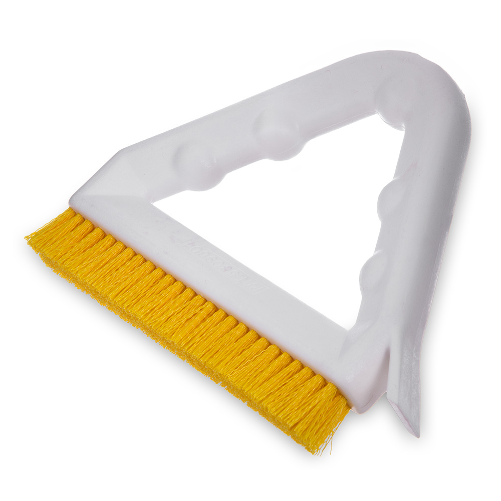 "Carlisle 4132304 9"" Tile/Grout Brush - Triangular, Poly/Plastic, Yellow"
