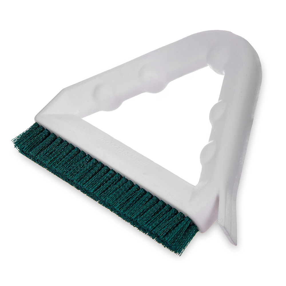 "Carlisle 4132309 9"" Tile/Grout Brush - Triangular, Poly/Plastic, Green"
