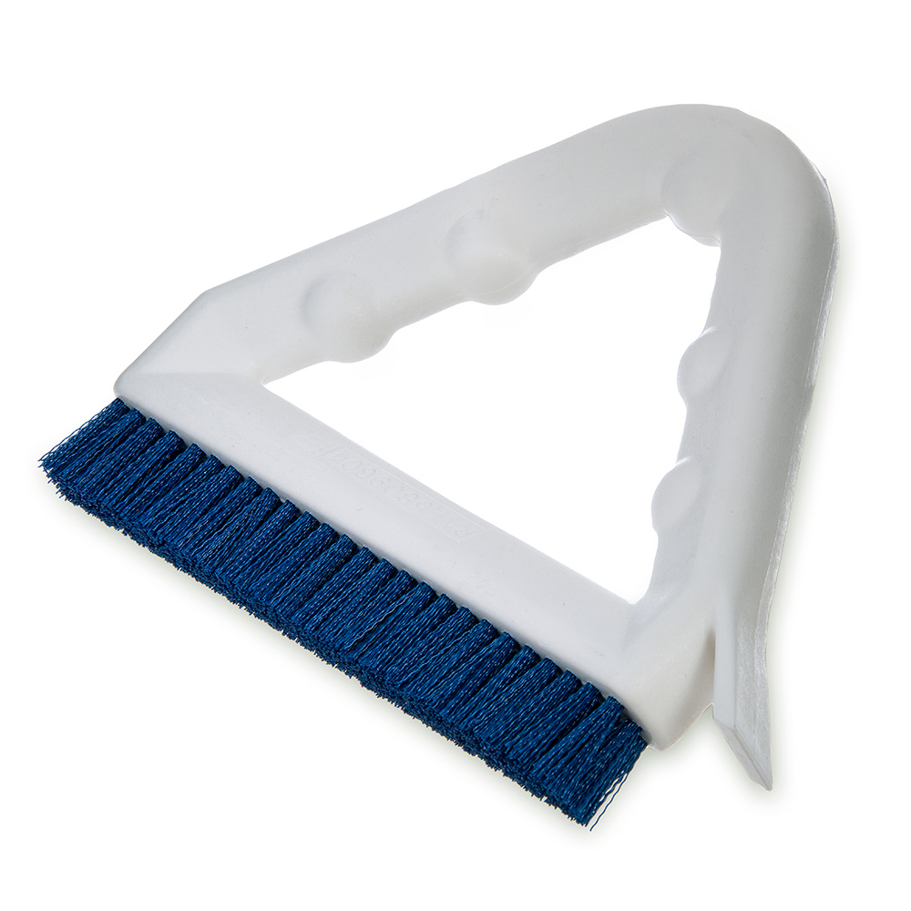 "Carlisle 4132314 9"" Tile/Grout Brush - Triangular, Poly/Plastic, Blue"