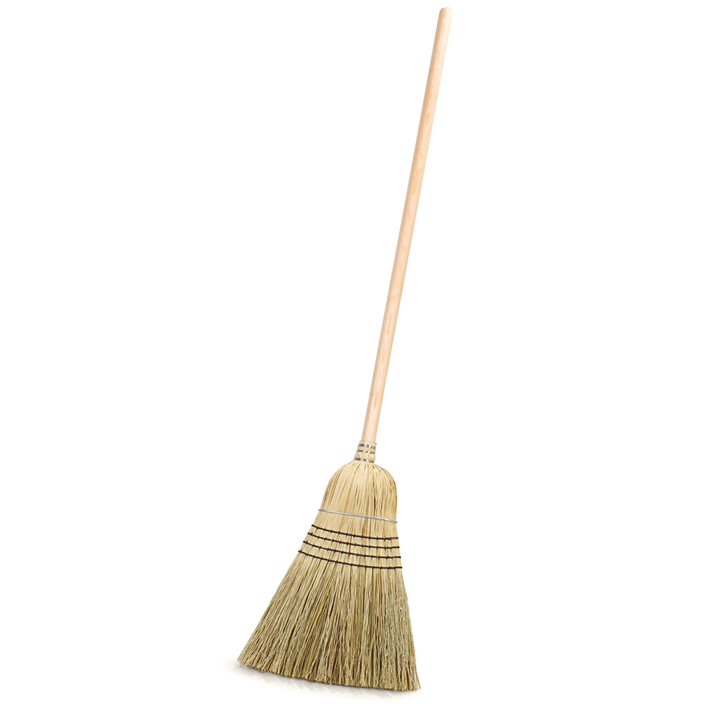 "Carlisle 4135467 12"" Warehouse Corn Broom - 30# Fill, 56"" Wood Handle"