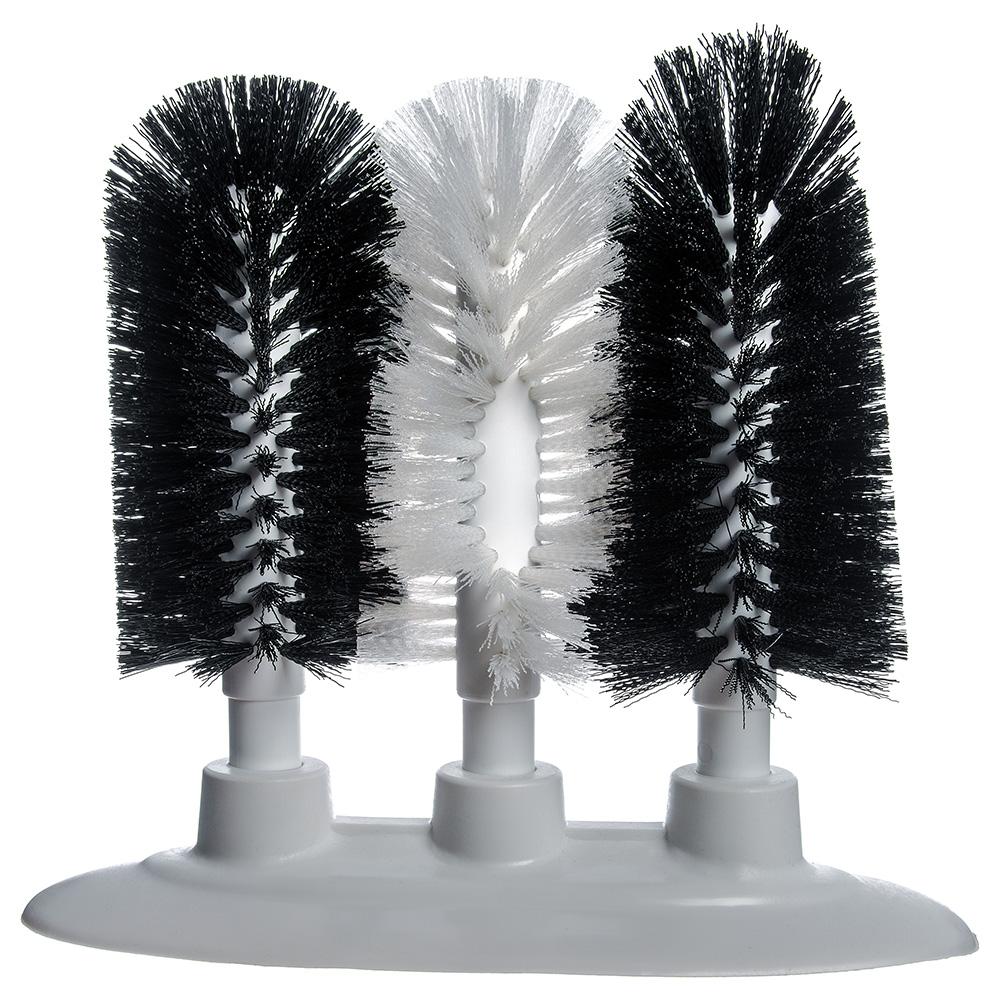 "Carlisle 4150600 9.5"" Triple Glass Washer w/ Polyester Bristles, (2) Black & (1) White"
