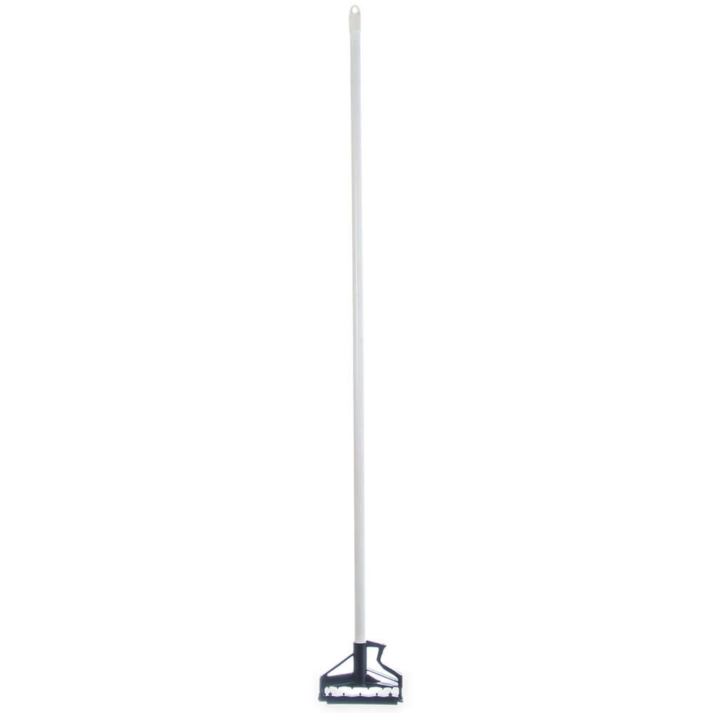 "Carlisle 4166402 60"" Mop Handle - Flexible Plastic Head, Fiberglass, White"