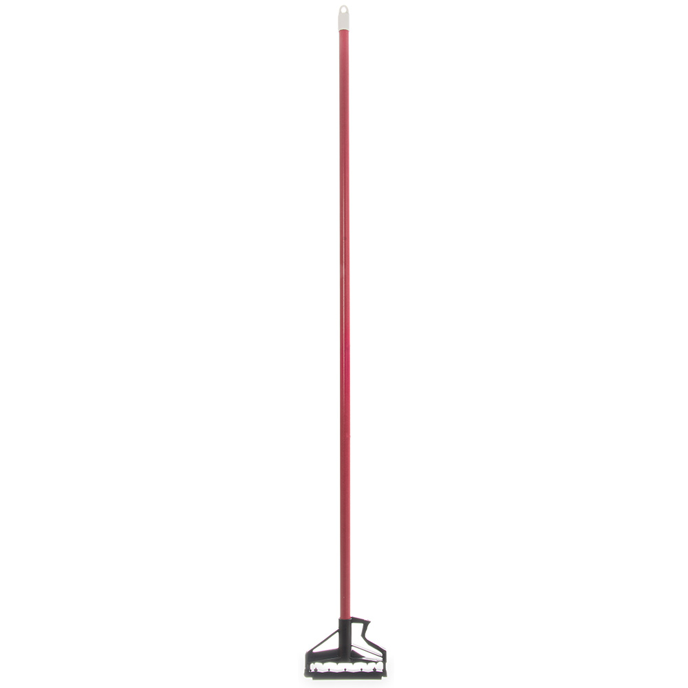 "Carlisle 4166405 60"" Mop Handle - Flexible Plastic Head, Fiberglass, Red"