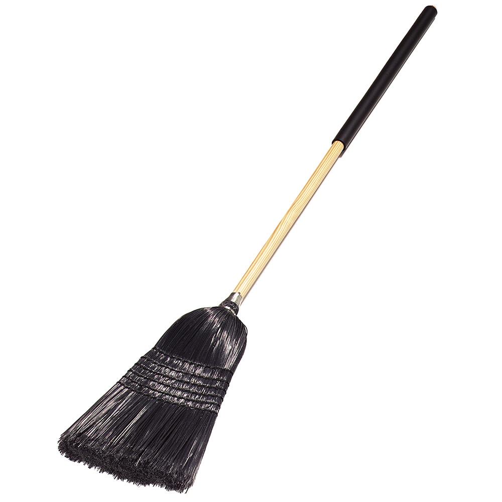 Carlisle 4167903 Warehouse/Janitor Upright Broom - Foam Gripped Wood Handle, Black Bristles