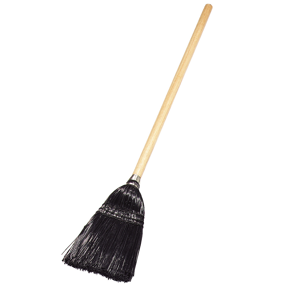 Carlisle 4168303 Toy/Lobby Upright Broom - Foam Gripped Wood Handle, Black Bristles