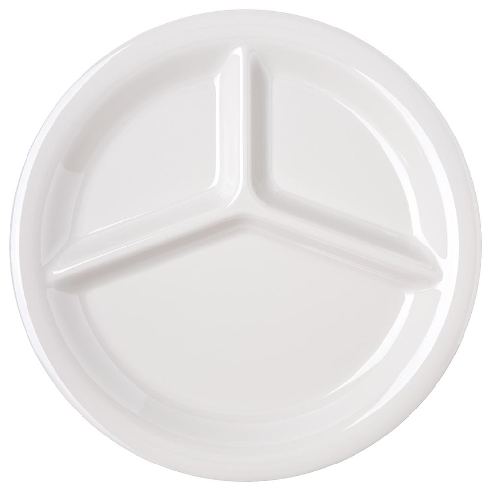 "Carlisle 4300042 10-1/2"" 3-Compartment Plate - Melamine, Bone"