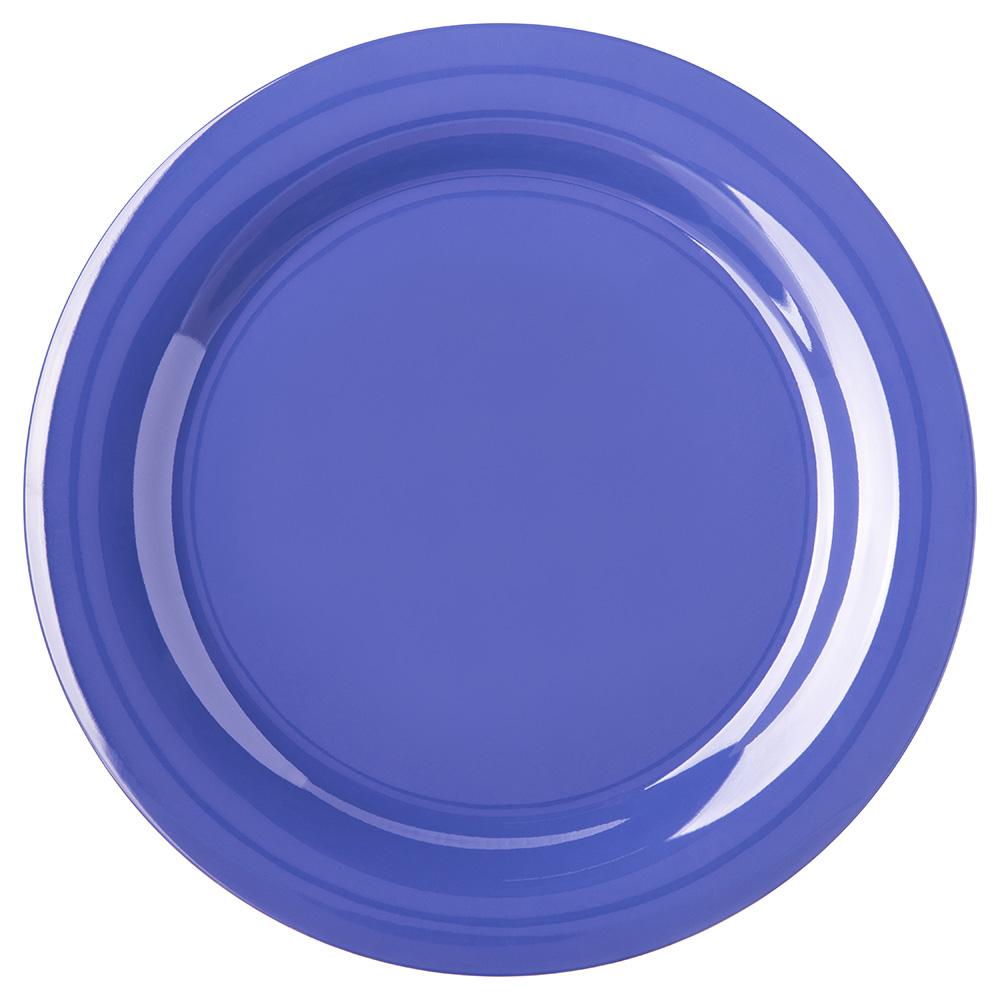 "Carlisle 4300214 10-1/2"" Durus Dinner Plate - Narrow Rim, Melamine, Ocean Blue"