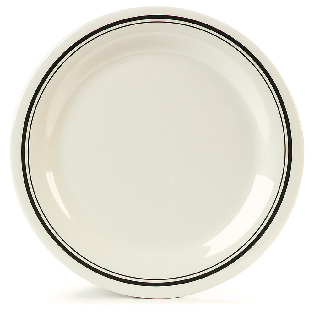 "Carlisle 43003905 10.5"" Round Dinner Plate w/ Narrow Rim, Melamine, Orleans on Bone"