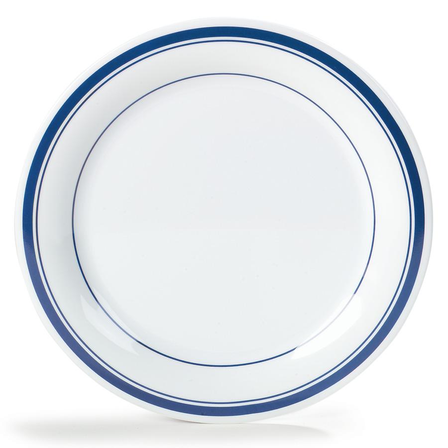 """Carlisle 43003912 10-1/2"""" Durus Dinner Plate - Narrow Rim, Melamine, London on Bone"""