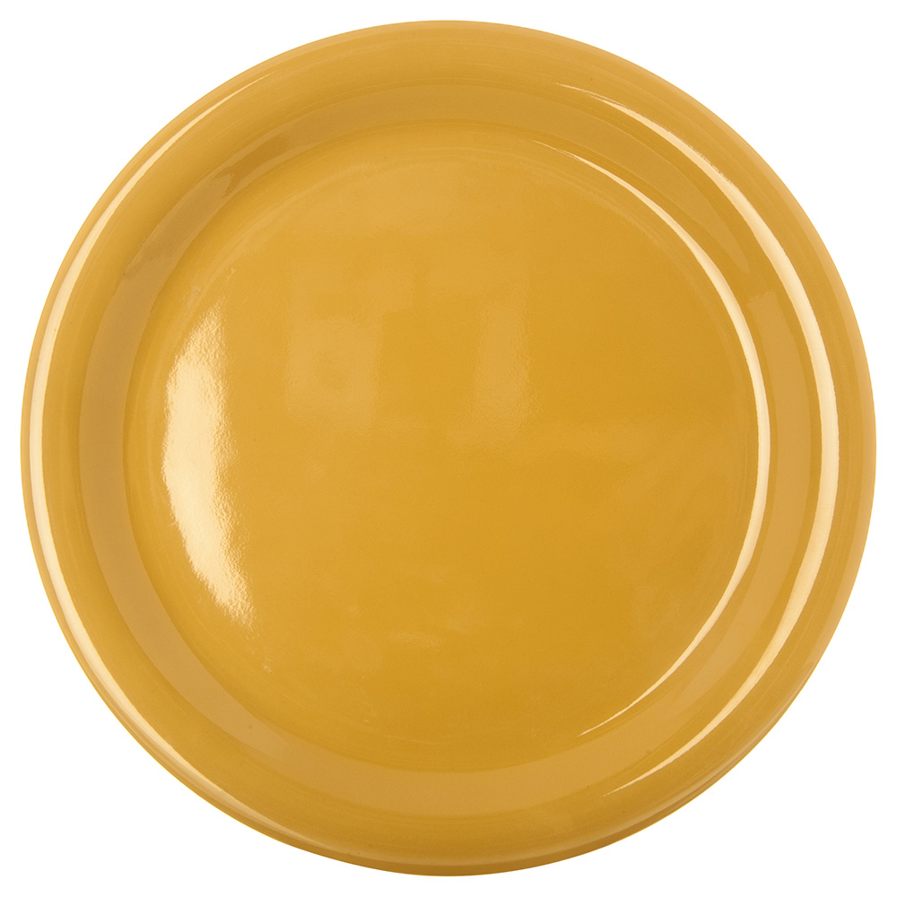"Carlisle 4300422 9"" Durus Dinner Plate - Narrow Rim, Melamine, Honey Yellow"