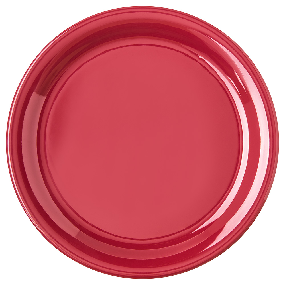 "Carlisle 4300458 9"" Durus Dinner Plate - Narrow Rim, Melamine, Roma Red"