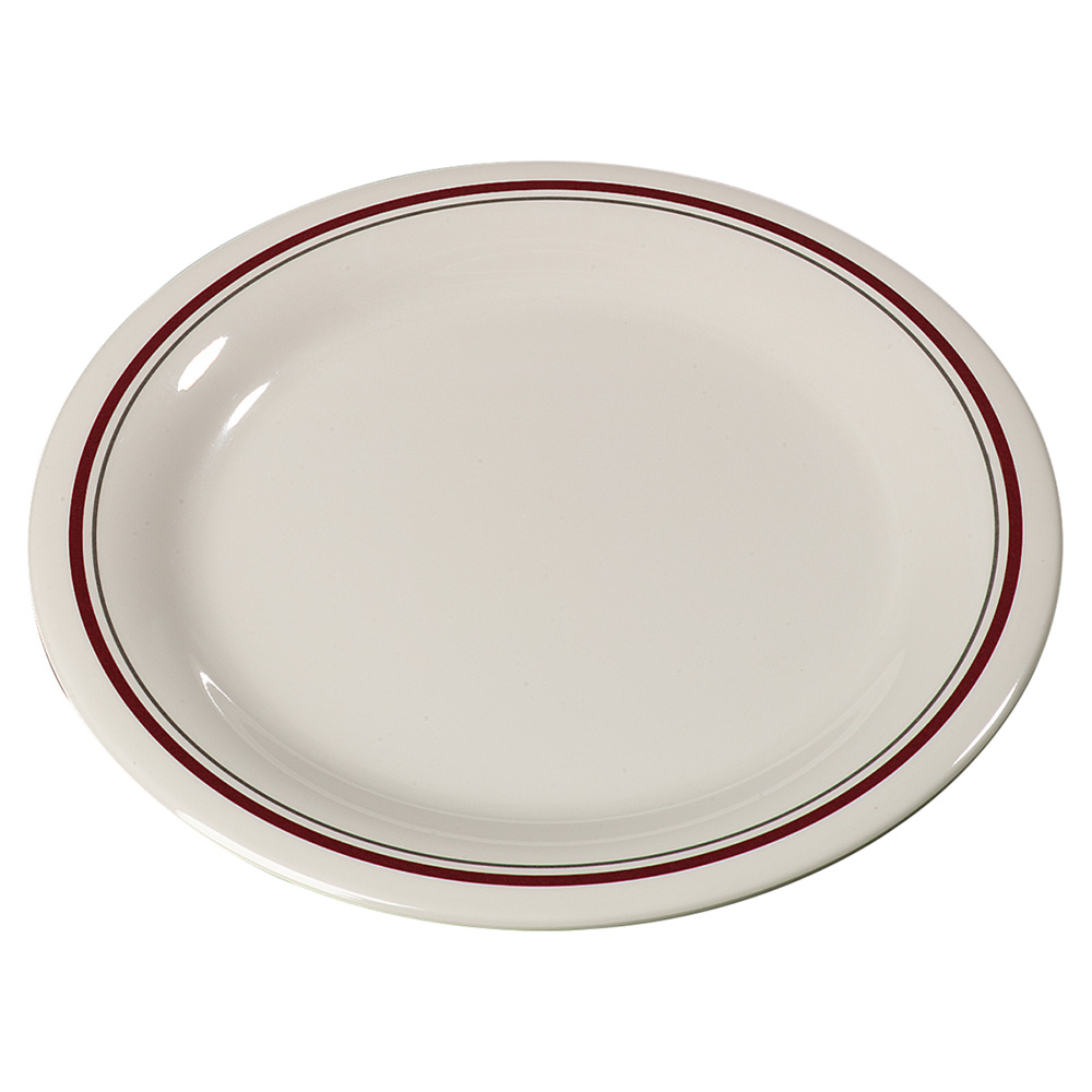 "Carlisle 43005903 9"" Durus Dinner Plate - Narrow Rim, Melamine, Morocco on Bone"
