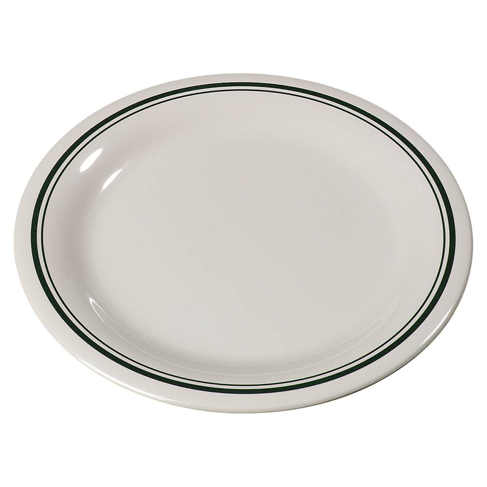 "Carlisle 43005905 9"" Round Dinner Plate w/ Narrow Rim, Melamine, Orleans on Bone"