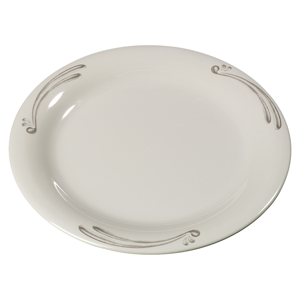 "Carlisle 43005909 9"" Durus Dinner Plate - Narrow Rim, Melamine, Versailles on Bone"