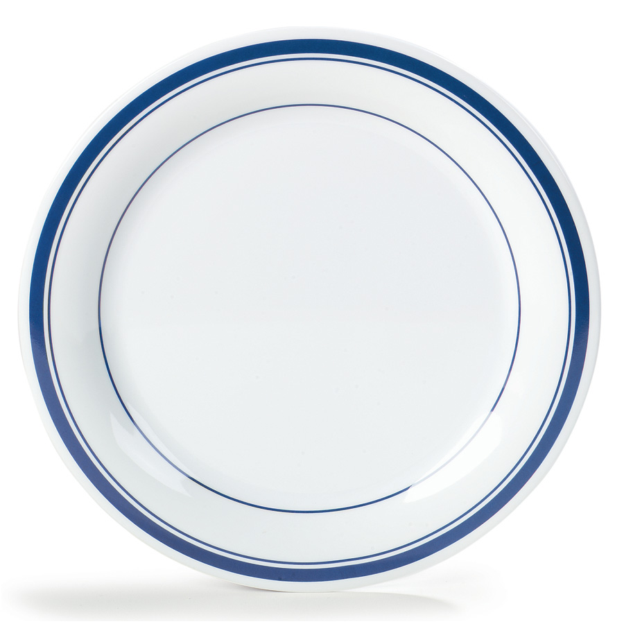 "Carlisle 43005912 9"" Durus Dinner Plate - Narrow Rim, Melamine, London on White"