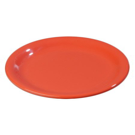 "Carlisle 4300652 7-1/4"" Durus Salad Plate - Narrow Rim, Melamine, Sunset Orange"