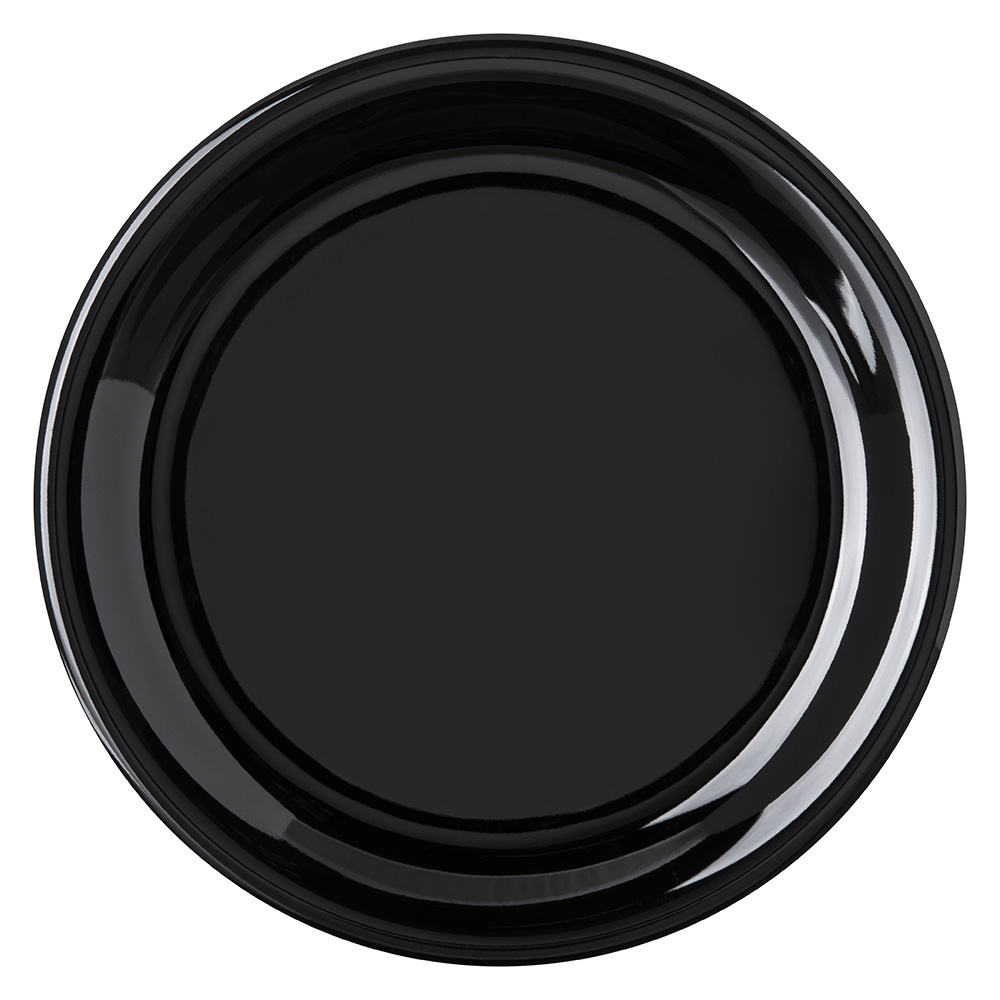 "Carlisle 4300803 6.5"" Round Pie Plate w/ Narrow Rim, Melamine, Black"