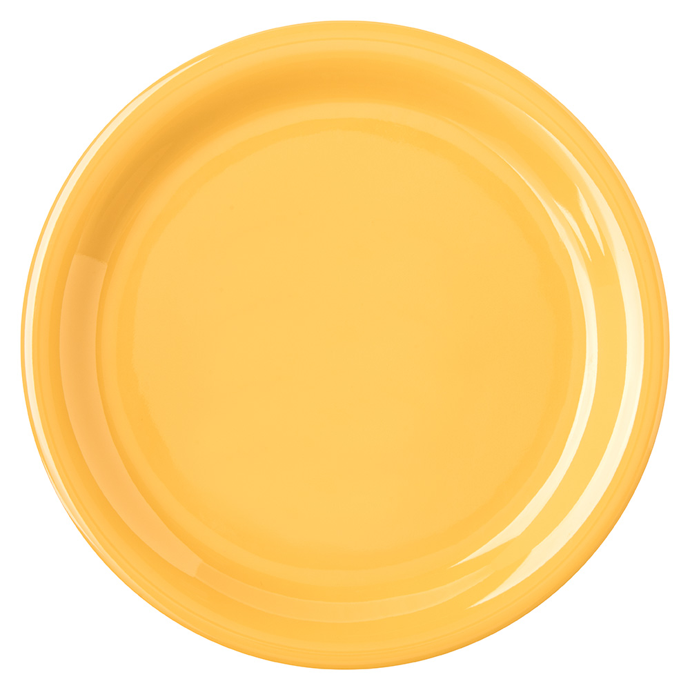 "Carlisle 4300822 6-1/2"" Durus Pie Plate - Narrow Rim, Melamine, Honey Yellow"
