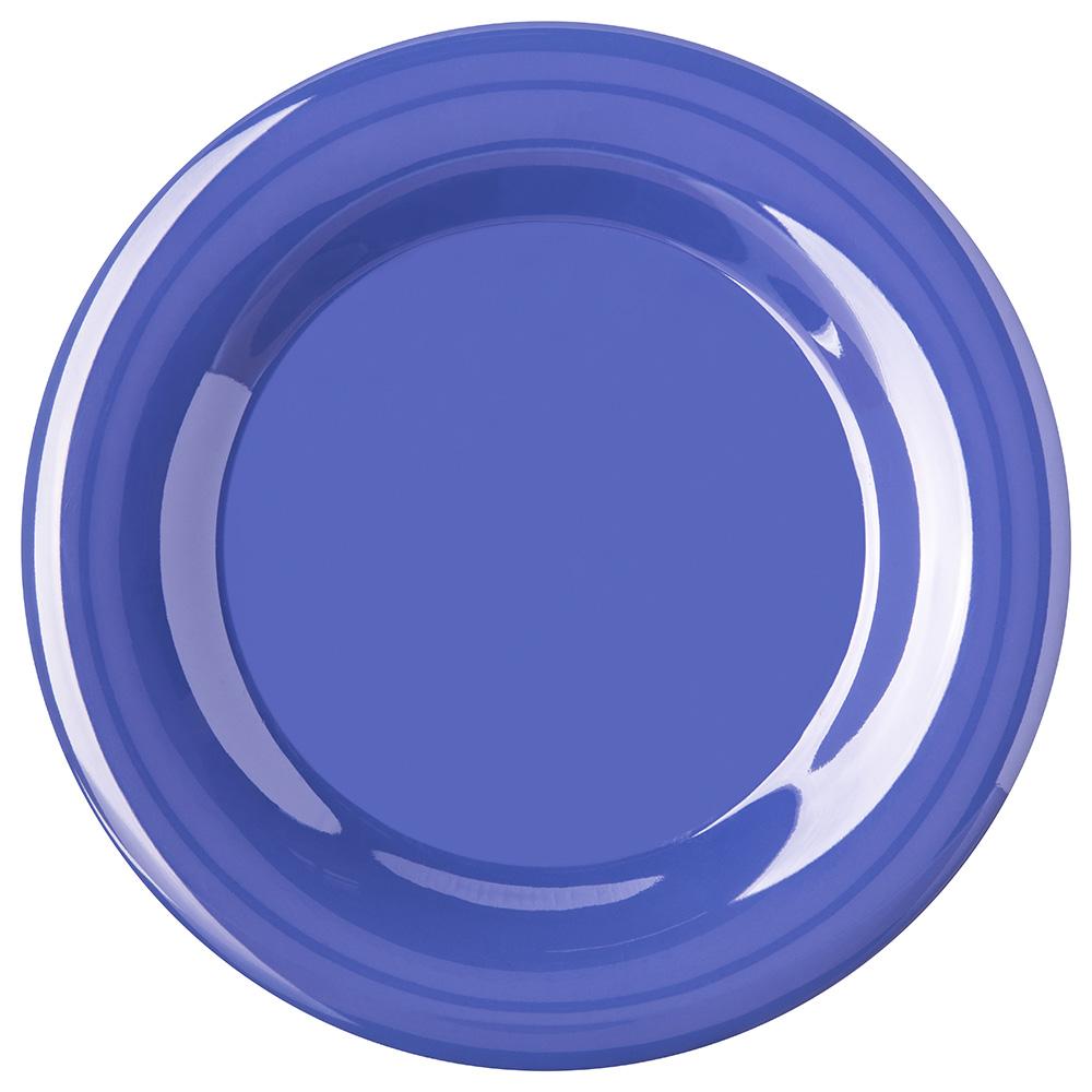 "Carlisle 4301014 10-1/2"" Durus Dinner Plate - Wide Rim, Melamine, Ocean Blue"