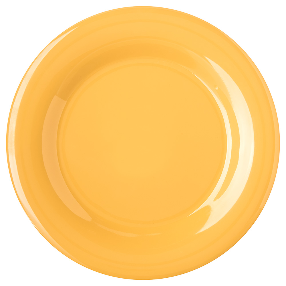 "Carlisle 4301022 10.5"" Round Dinner Plate w/ Wide Rim, Melamine, Honey Yellow"