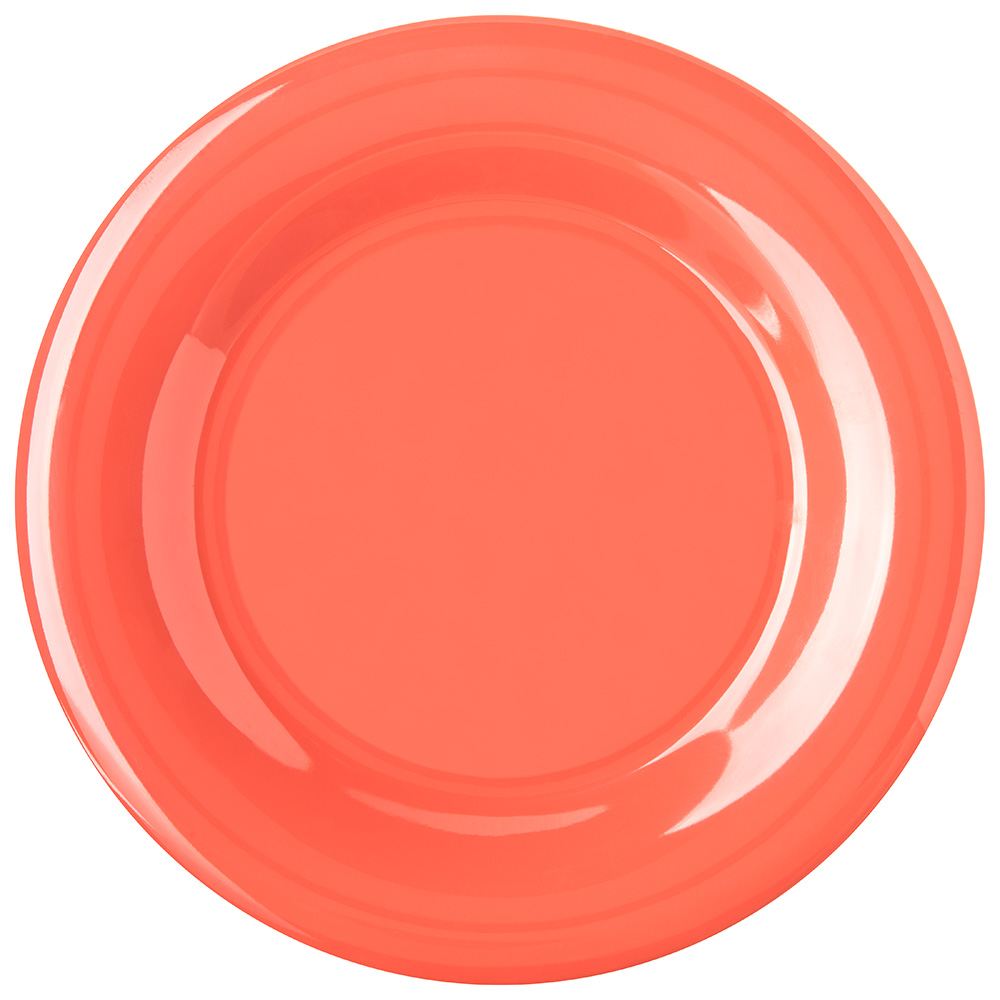 "Carlisle 4301052 10-1/2"" Durus Dinner Plate - Wide Rim, Melamine, Sunset Orange"