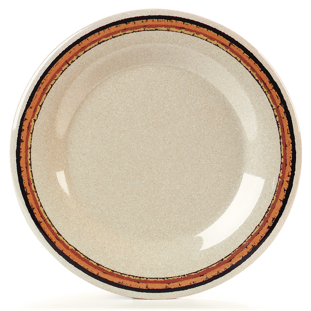 "Carlisle 43011908 10.5"" Round Dinner Plate w/ Wide Rim, Melamine, Sierra Sand on Sand"