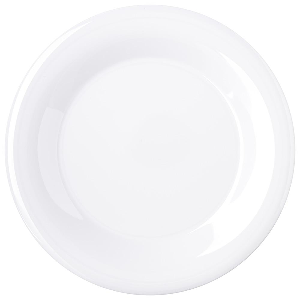 "Carlisle 4301202 9"" Round Dinner Plate w/ Wide Rim, Melamine, White"