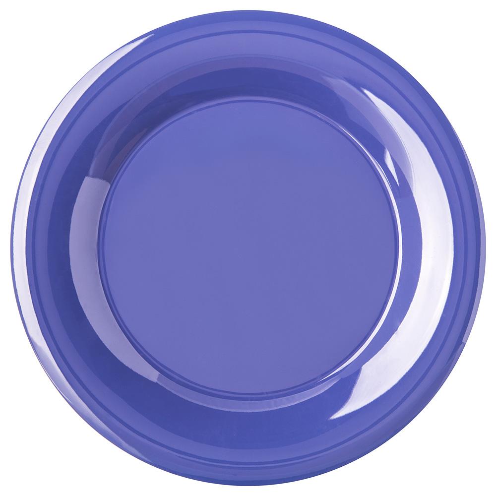 "Carlisle 4301214 9"" Round Dinner Plate w/ Wide Rim, Melamine, Ocean Blue"