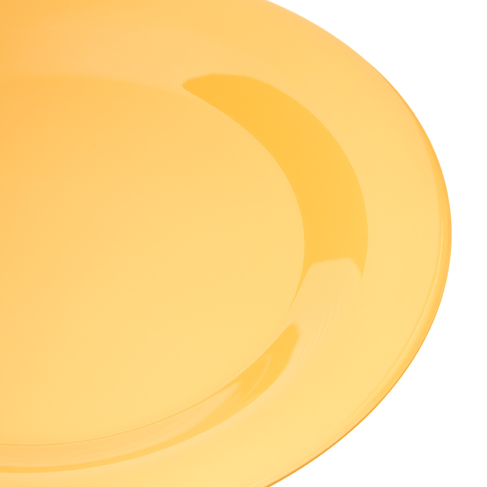 "Carlisle 4301222 9"" Round Dinner Plate w/ Wide Rim, Melamine, Honey Yellow"