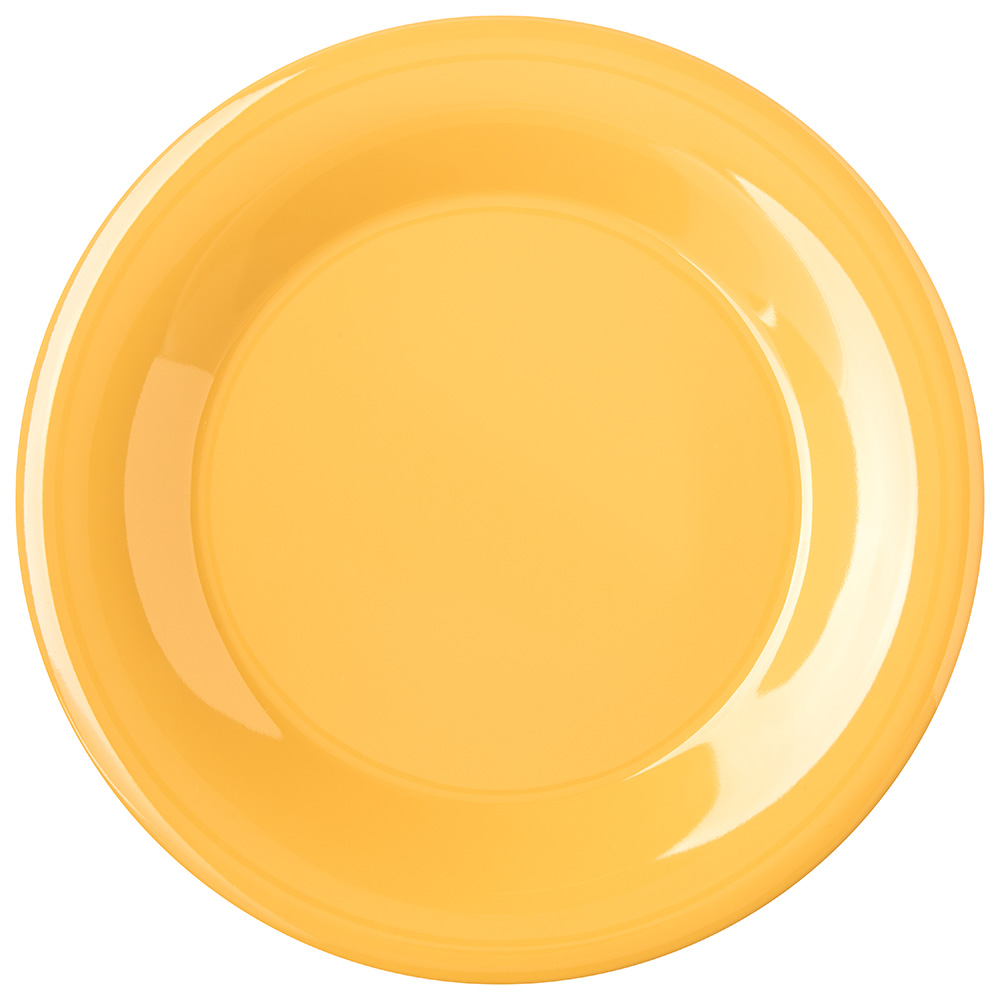 "Carlisle 4301222 9"" Durus Dinner Plate - Wide Rim, Melamine, Honey Yellow"