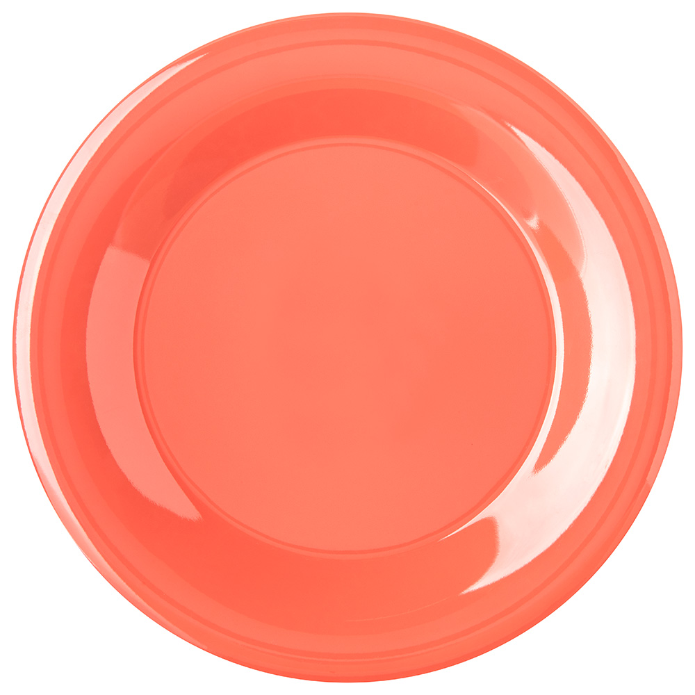 "Carlisle 4301252 9"" Round Dinner Plate w/ Wide Rim, Melamine, Sunset Orange"