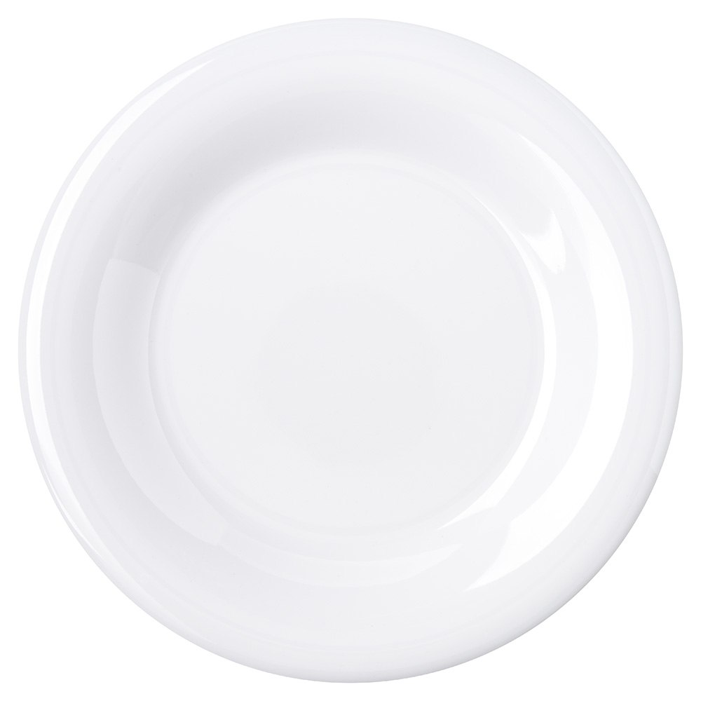 "Carlisle 4301602 7-1/2"" Durus Salad Plate - Wide Rim, Melamine, White"