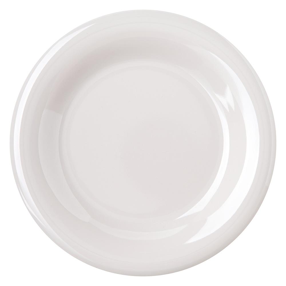 "Carlisle 4301842 6.5"" Round Pie Plate w/ Wide Rim, Melamine, Bone"