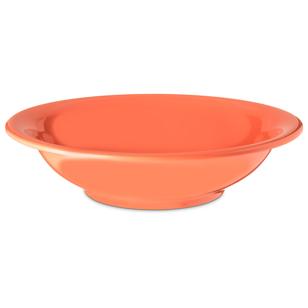"Carlisle 4303252 7.5"" Round Rim Soup Bowl w/ 16-oz Capacity, Melamine, Sunset Orange"
