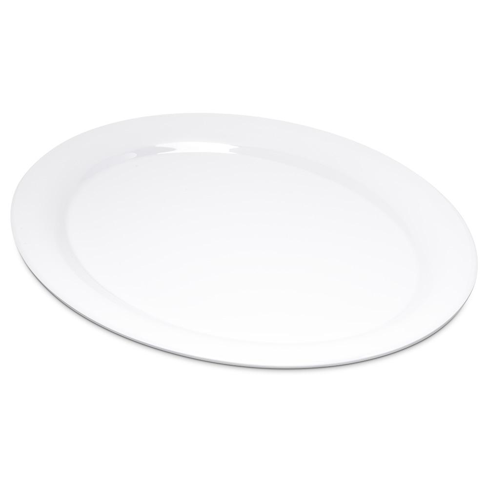 "Carlisle 4308002 Durus Oval Platter - 13-1/2x10-1/2"" Melamine, White"