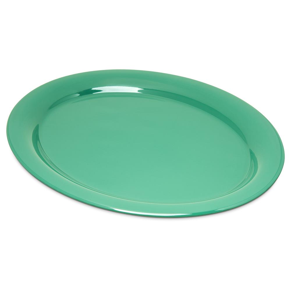 """Carlisle 4308009 Oval Platter - 13.5"""" x 10.5"""", Melamine, Meadow Green"""