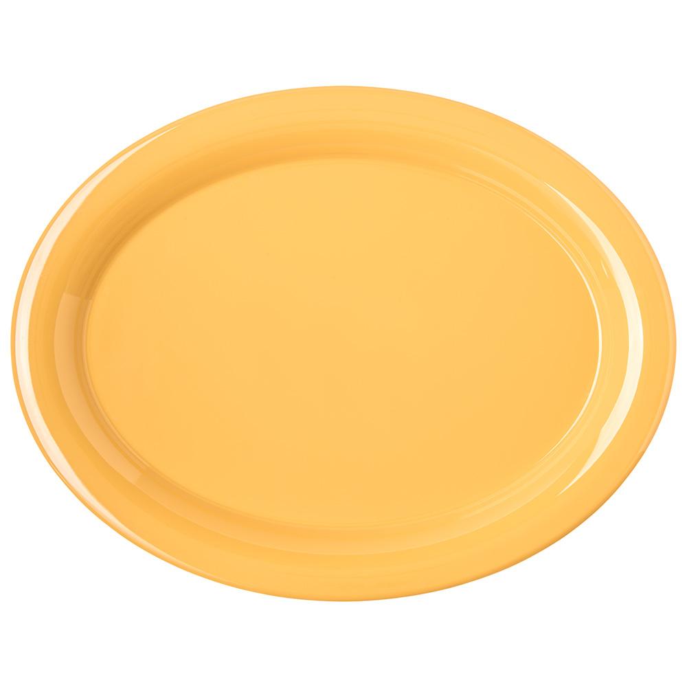 "Carlisle 4308022 Oval Platter - 13.5"" x 10.5"", Melamine, Honey Yellow"
