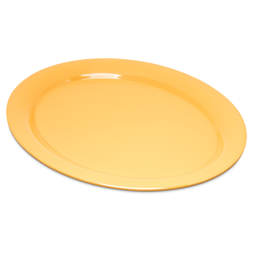 "Carlisle 4308022 Oval Platter - 13.5"" x 10.5"", Melamine, Honey Yellow"