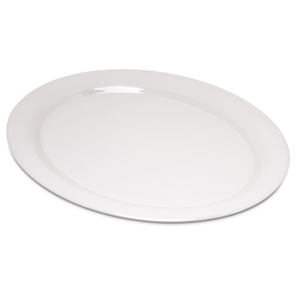 "Carlisle 4308042 Durus Oval Platter - 13-1/2x10-1/2"" Melamine, Bone"