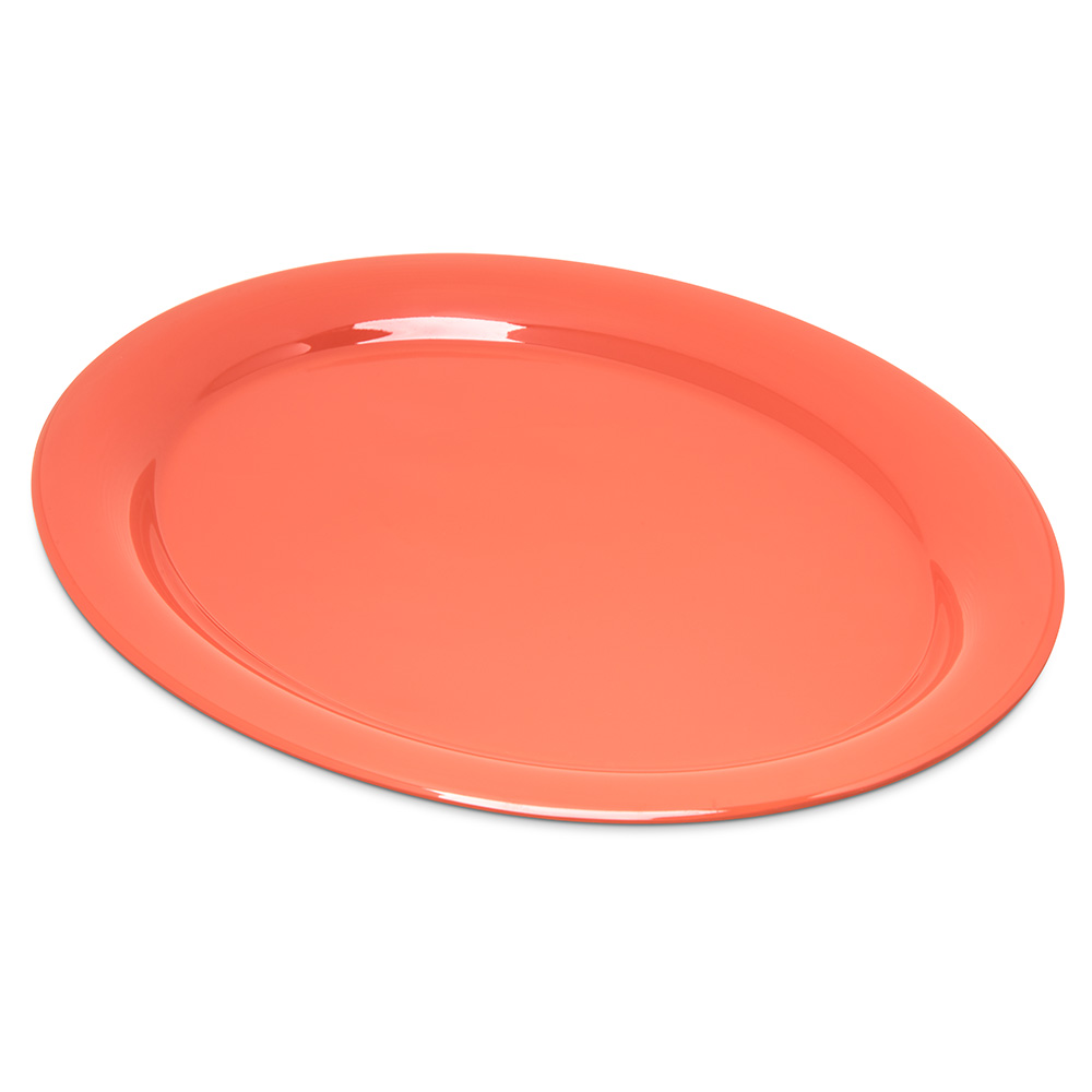 "Carlisle 4308052 Durus Oval Platter - 13-1/2x10-1/2"" Melamine, Sunset Orange"