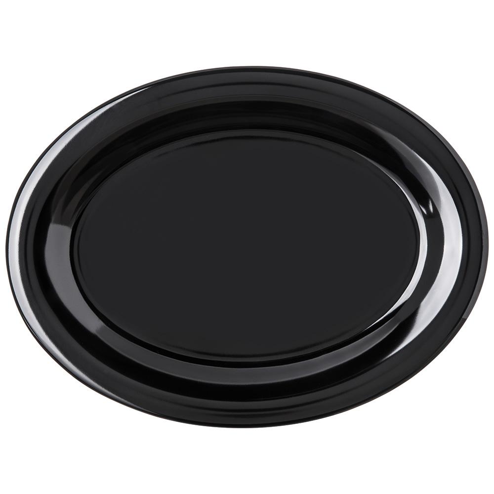 "Carlisle 4308203 Oval Platter - 12"" x 9.25"", Melamine, Black"