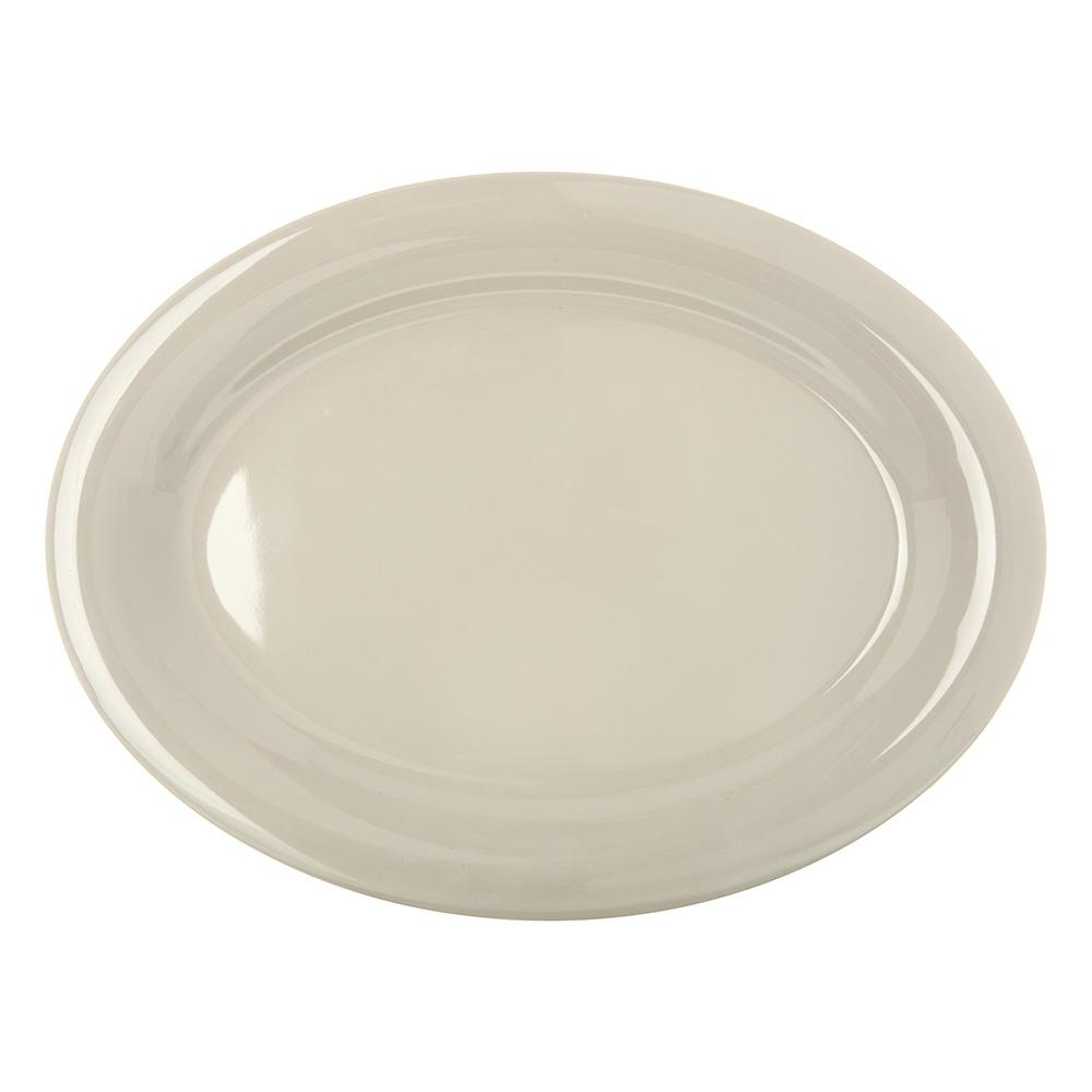"Carlisle 4308242 Oval Platter - 12"" x 9.25"", Melamine, Bone"